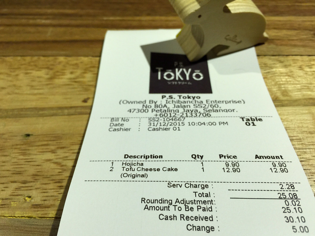 Our bill at P.S. Tokyo