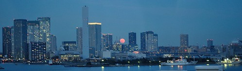 Buildings with red moon 1 | by tokyobogue
