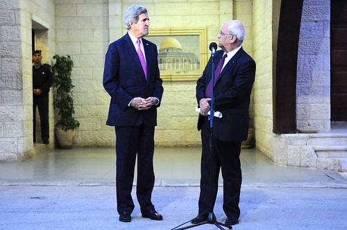 Palestinian Negotiator Erekat Addresses Reporters With Secretary Kerry in West Bank | by U.S. Department of State