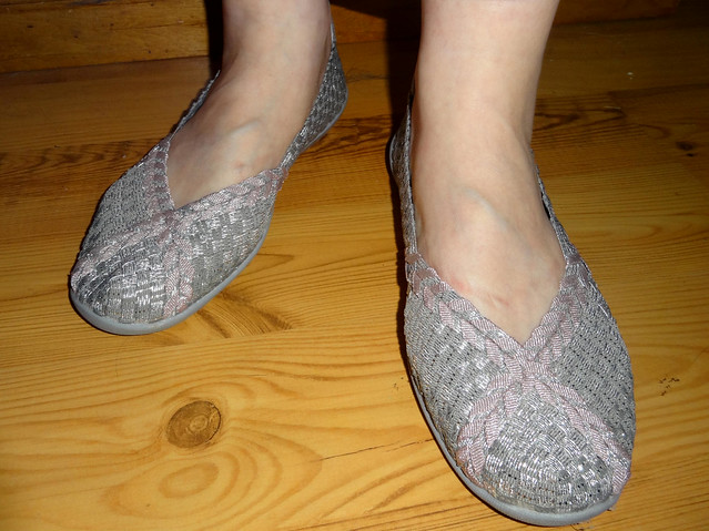 Stretch shoes, silver, pink
