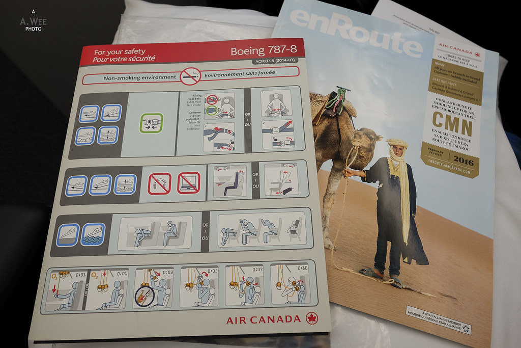 Safety instruction card for the 787