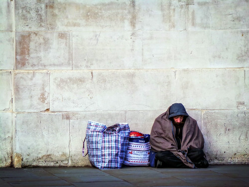 Homeless by a Wall | by garryknight