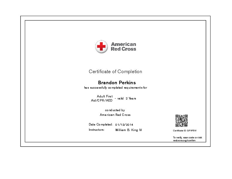 Adult First Aidcpraed Certificate Of Completion Certific Flickr