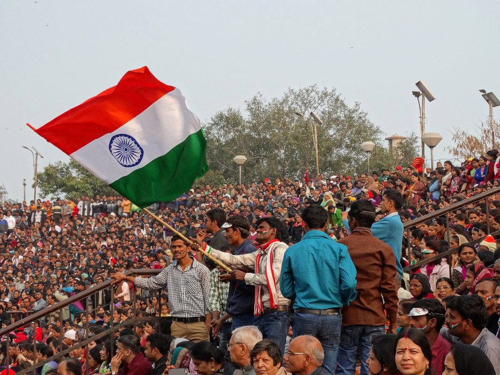 Crowd With Indian Flag At Border Closing Ceremony