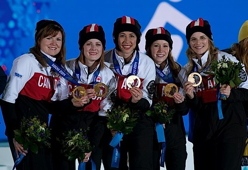 Sochi Ru.Feb22-2014.Winter Olympic Games.Medal Prest.Woman,Team Canada,(L-R)Alt Kristen Wall,lead Dawn McEwen,second Jill Officer,third Kaitlyn Lawes,skip Jennifer Jones.WCF/michael burns photo | by seasonofchampions