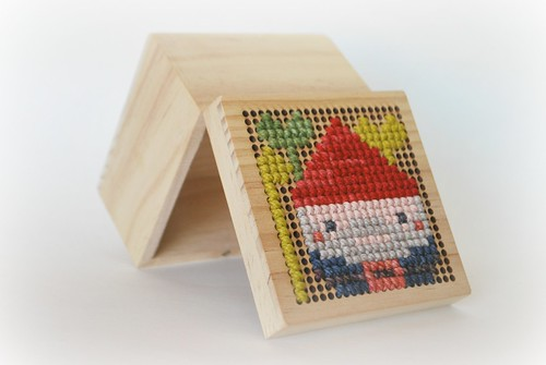 Gnome cross stitch box