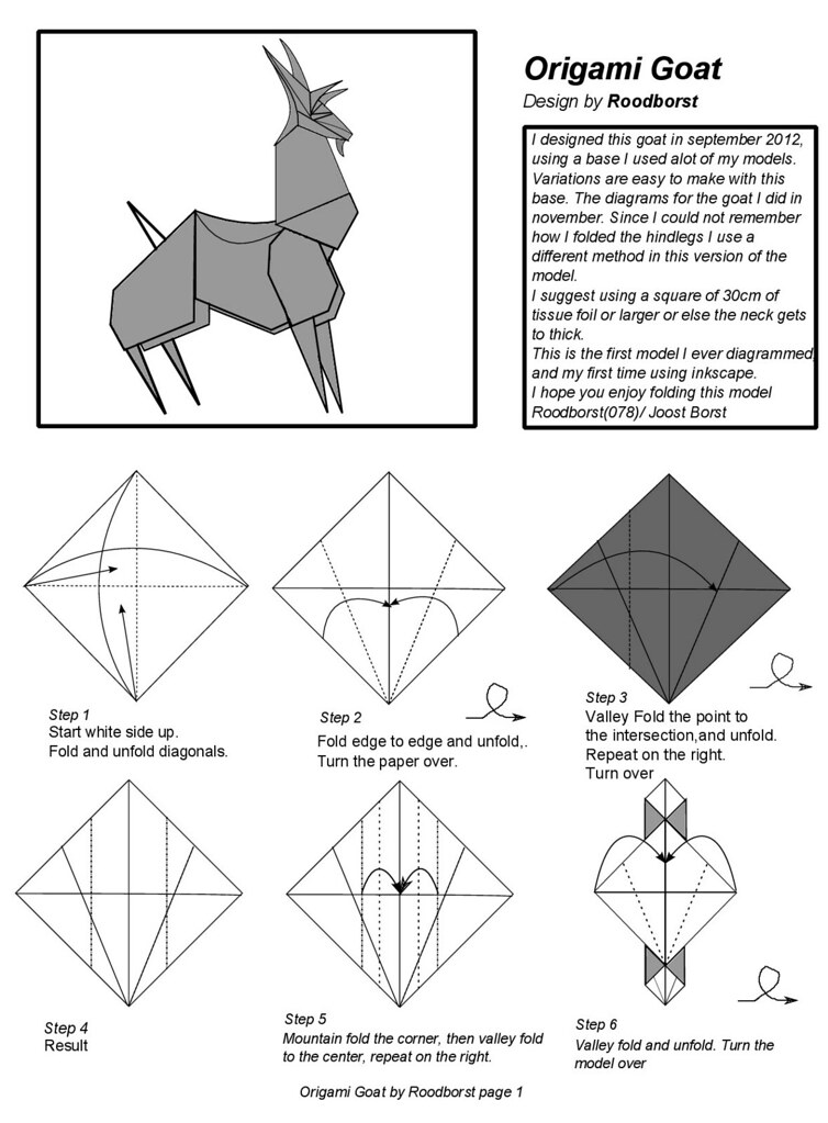 Goat Diagram Page 1 Origami Goat Designed By Roodborst Dia Flickr