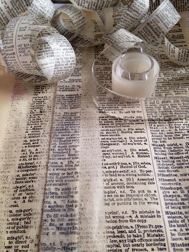 I made some handmade washi tape like text tape  using matte transparent tape and a vintage dictionary page. Apply to your substrate with matte medium. | by Brenda Broomstick