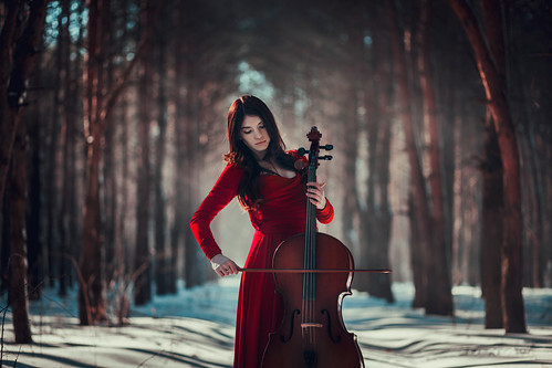 Girl with cello | Girl playing the cello in forest | Oleh ...