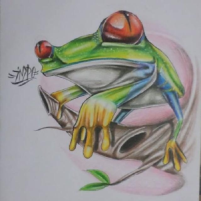 rana dabdole al #lapiz de #color #natural #dibujo | Flickr