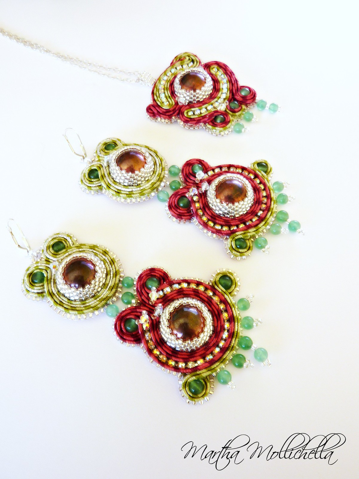 soutache earrings and pendant handmade with beads and avventurine Martha Mollichella Handmade jewelry