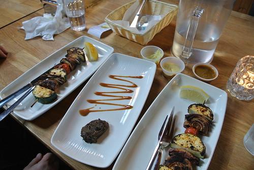 Vegetable skewers, whale steak
