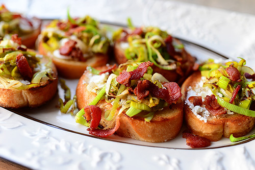 Bruschetta with Goat Cheese, Leeks, and Bacon | by Ree Drummond / The Pioneer Woman