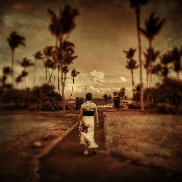 Walking toward the ocean, Hana...