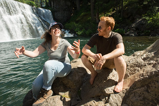 Nadine & Tyler Enjoying the Spray of McCloud Middle Falls | by goingslowly