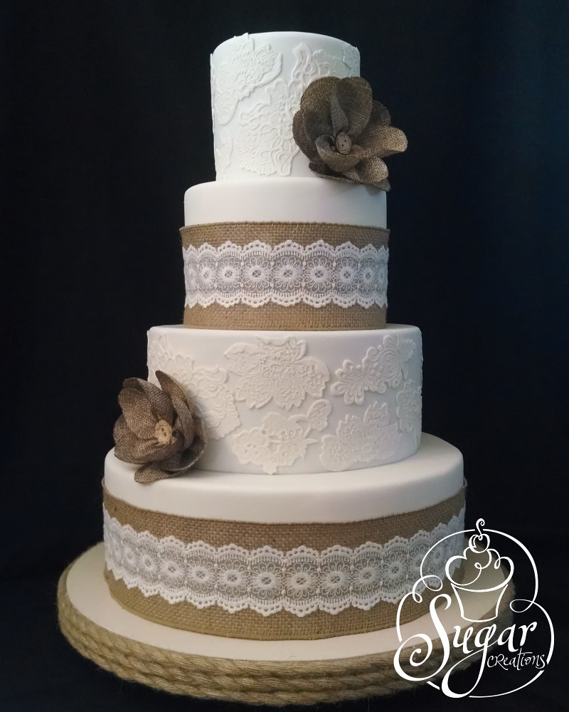 Burlap And Lace Wedding Cake Rebecca Sutterby Flickr