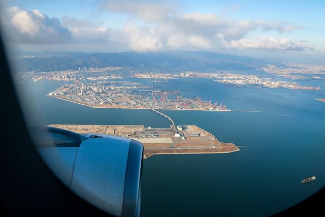 Bird's-eye view of the sea and Kansai International Airport, Osaka, Japan 上空から見た海と関空