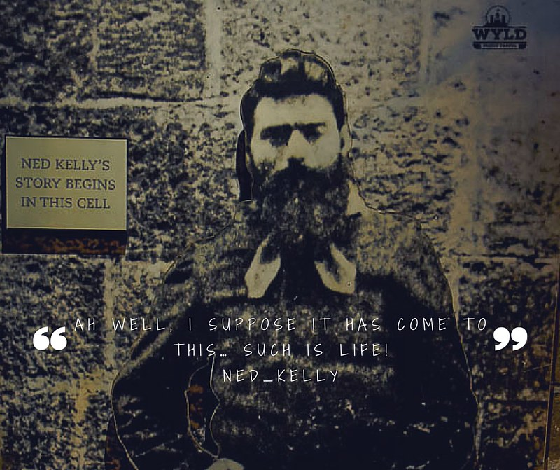 An old picture of Ned Kelly that was in one of the cells at Old Melbourne Goal. The picture has a small sign next to it saying 'Ned Kelly's story begins in this cell' It also has written under it the last words Ned is said to have spoken
