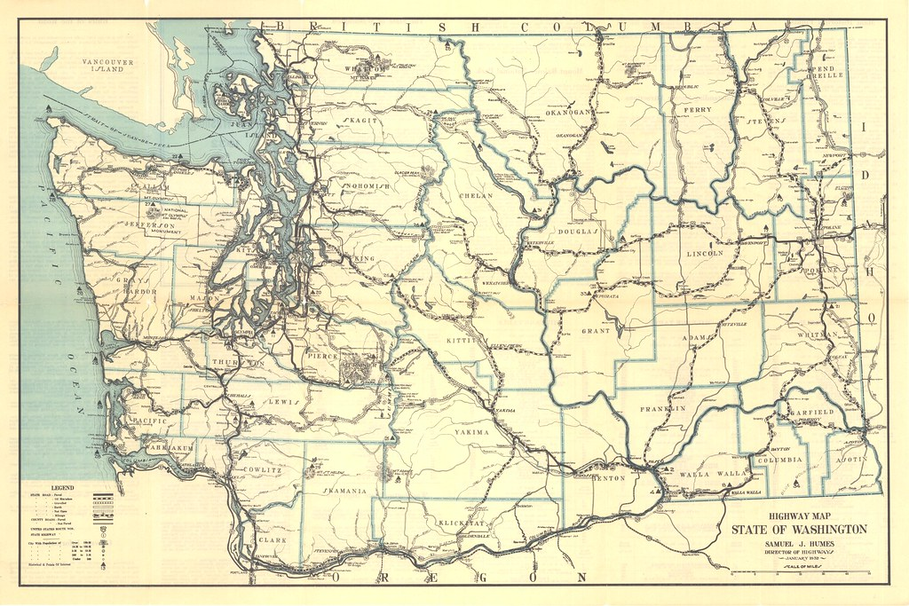 1932 washington state highway map washington state dept of