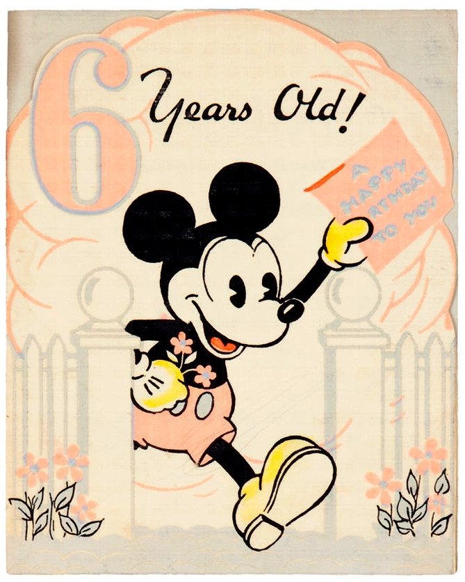 Mickey Mouse 6 year old birthday card 1930s Tom Simpson – 6 Year Old Birthday Card