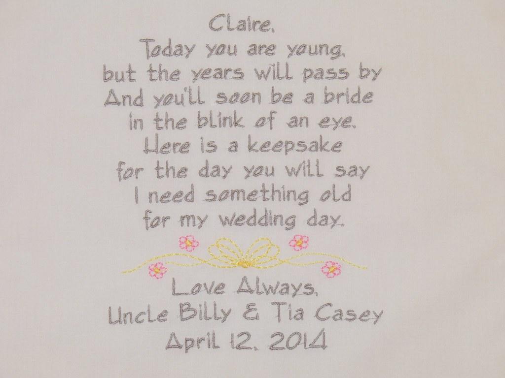 Embroidered Flower Girl Handkerchiefs Wedding Gifts Poem P Flickr