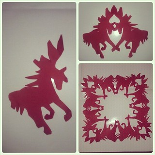 Year of the Horse: Happy New Year! #papercrafts #2014 #newyear #red #horse #snowflakes | by SarabellaE / Sara / Love in the Suburbs