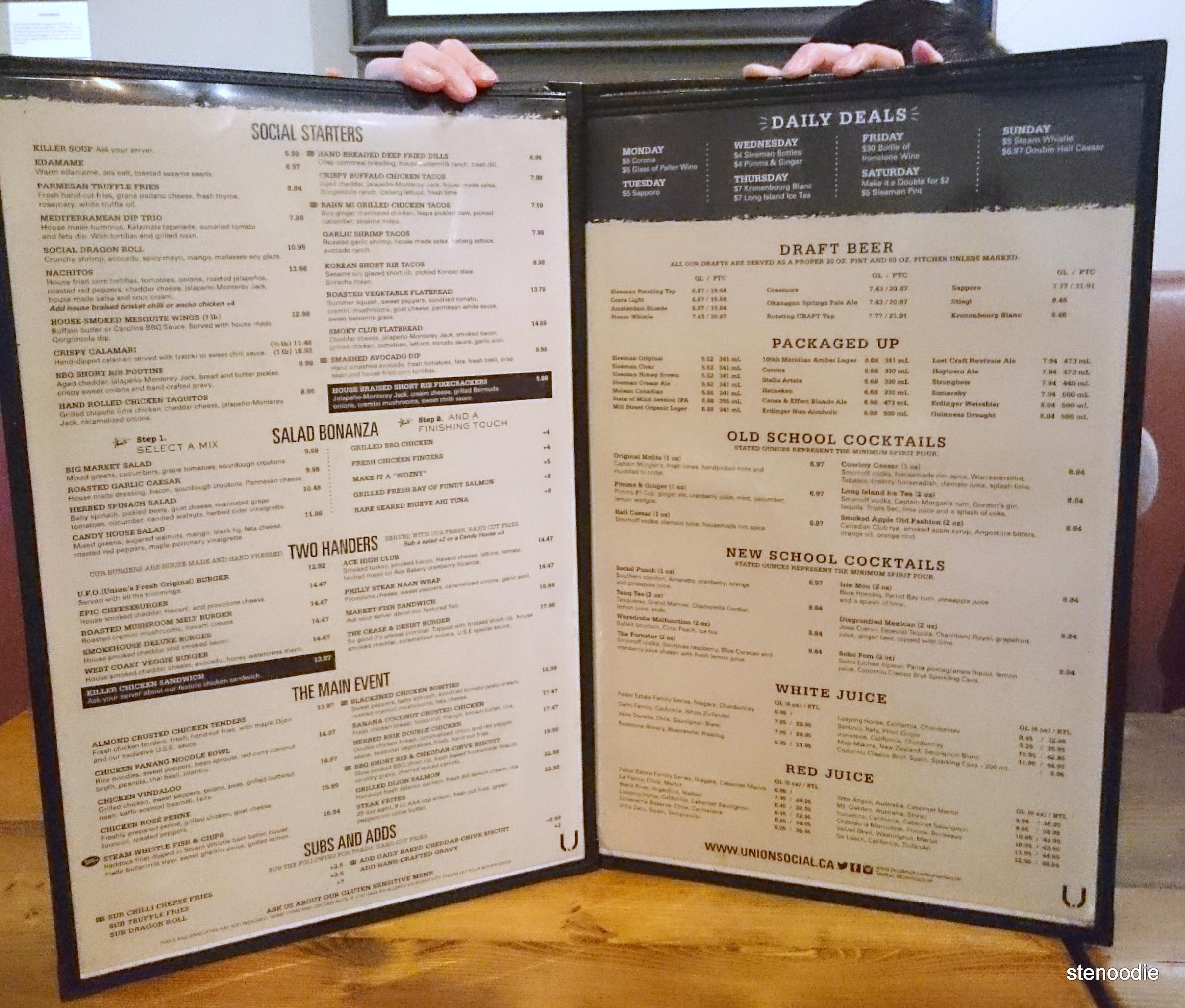 Union Social Eatery menu