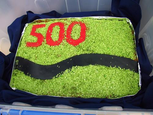 '500' cake for Richard Fletcher
