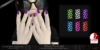 ~SongBird~ Neon Fishnets Nails | by ~SongBird~ In Second Life