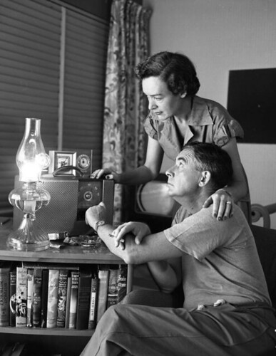 Philip and Frederica Wylie listening to weather reports: Miami Beach, Florida | by State Library and Archives of Florida