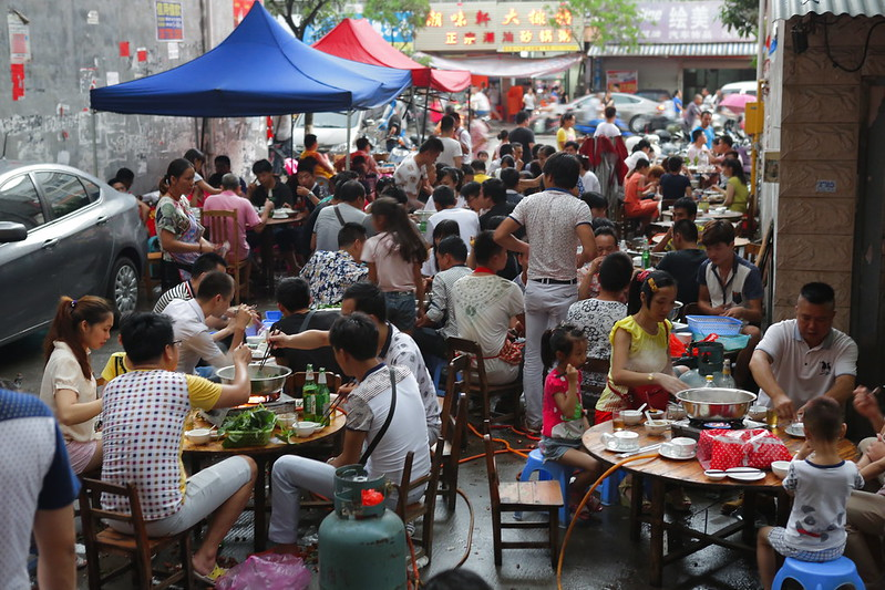 People eating at Yulin dog meat eating festival