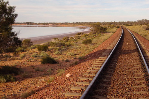 The Adelaide Darwin railway line passing along the edge of Lake Hart north of Port Augusta in South Australia. | by denisbin