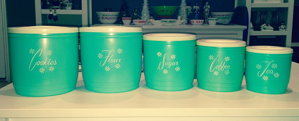 Finally Got The Cookie Vintage Turquoise Plastic Kitchen Canisters, Iu0027m  Thinking Lustroware? Finally Got The Cookie