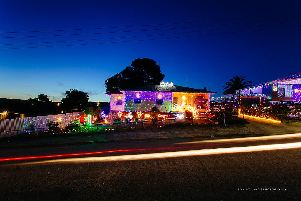 christmas lights setup outside on a home australia by robert lang photography