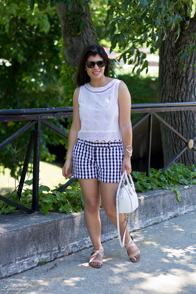 white eyelet lace crop top, gingham shorts, nude sandals-2.jpg
