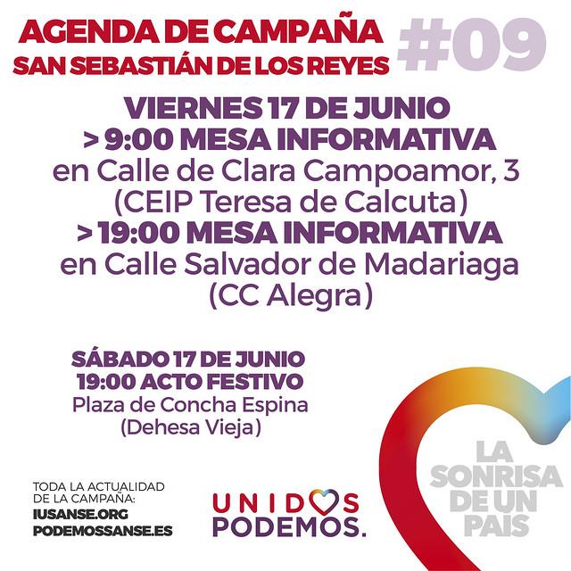 Agenda de Campaña #UnidosPodemos San Sebastián de los Reyes para las elecciones del 26J - Días 17 y 18 de Junio