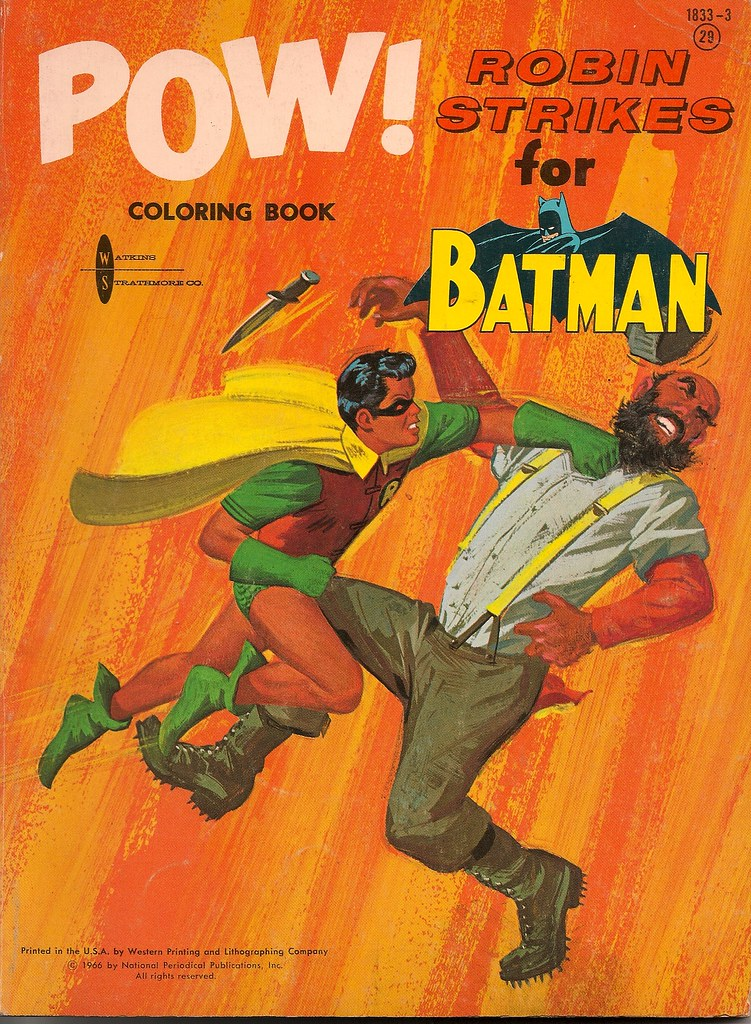 Robin Strikes For Batman Coloring Book Watkins Strathmore 1966