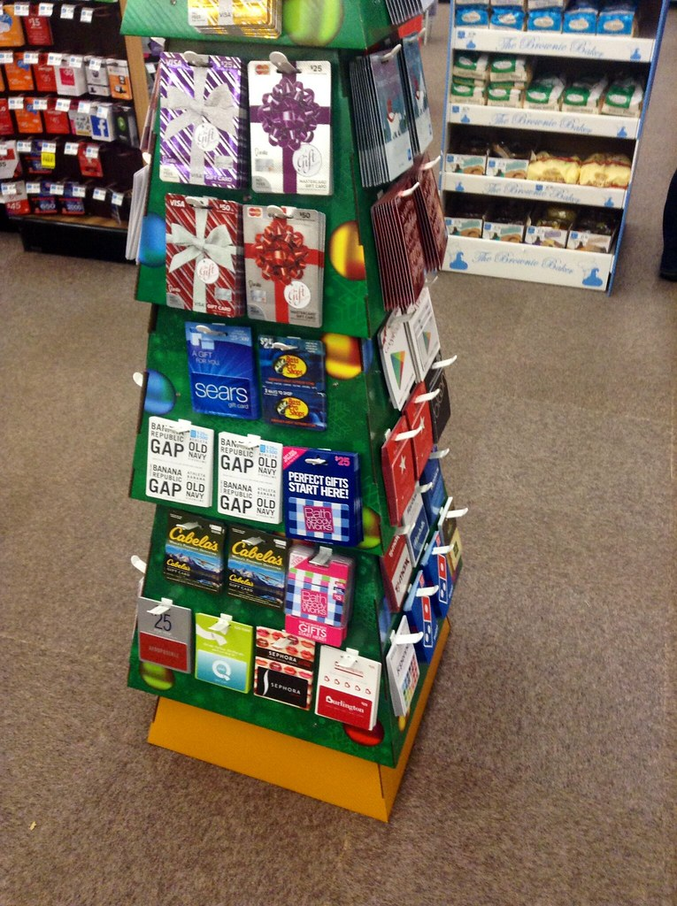 gift card display christmas tree design at rite aid 2014 flickr