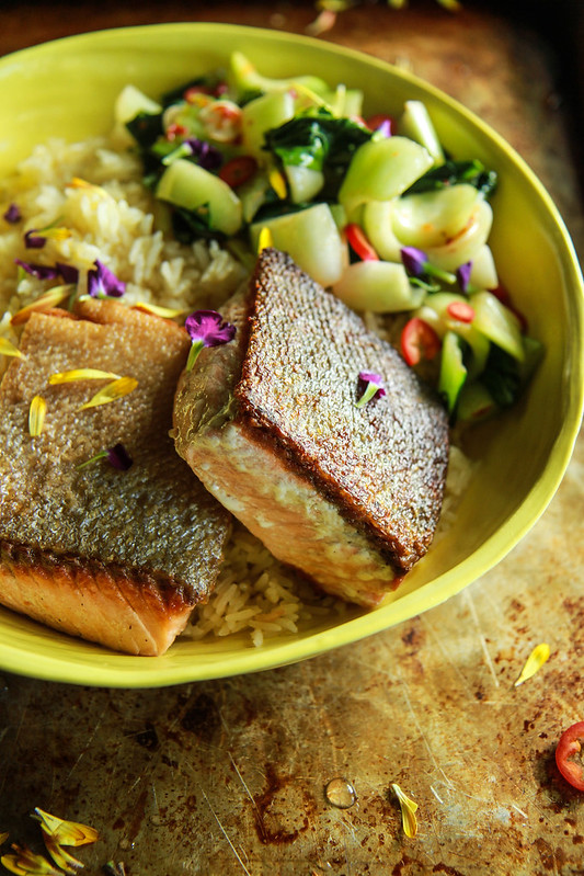 Pan Seared Salmon with Crispy Ginger Rice and Bok Choy from HeatherChristo.com