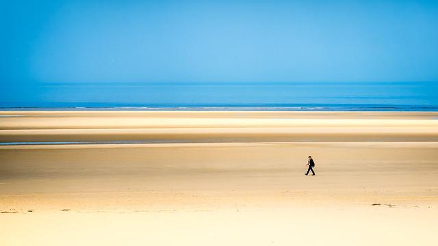 Walking the beach.