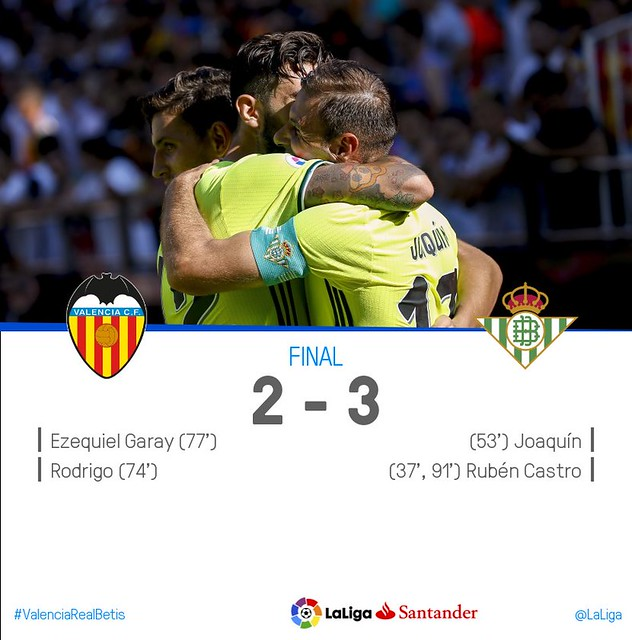 La Liga (Jornada 3): Valencia CF 2 - Betis 3
