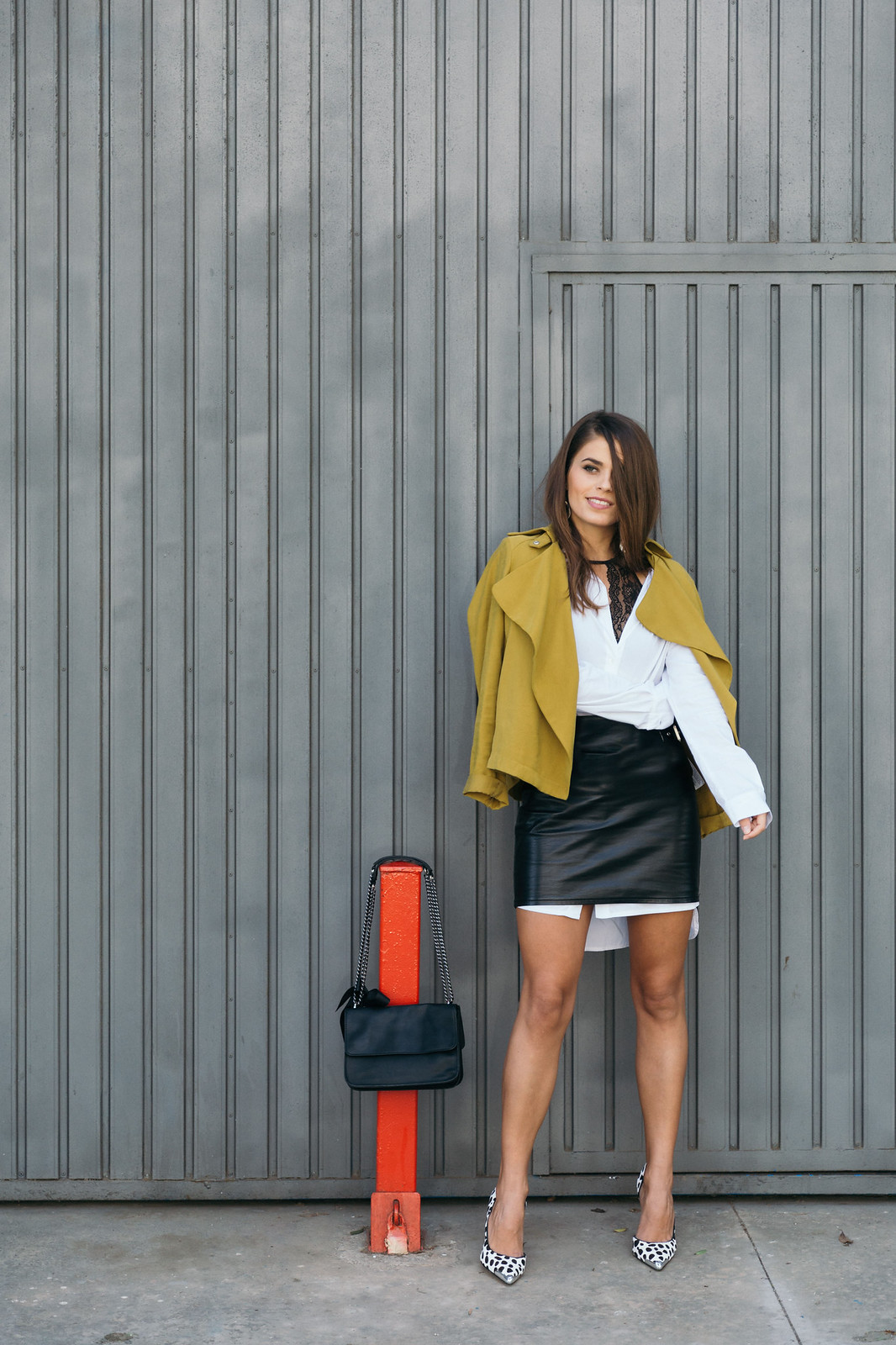Jessie Chanes Seams for a desire - The Amity Company Oversized White Shirt Faux Leather Skirt Short Parka -5