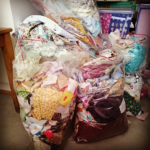 The scrappy state of my scrap bags. Let 2015 be a year where I dive into these bags rather than shoving it under tabletops. #stash #scraps #quilting | by midnightcrafts