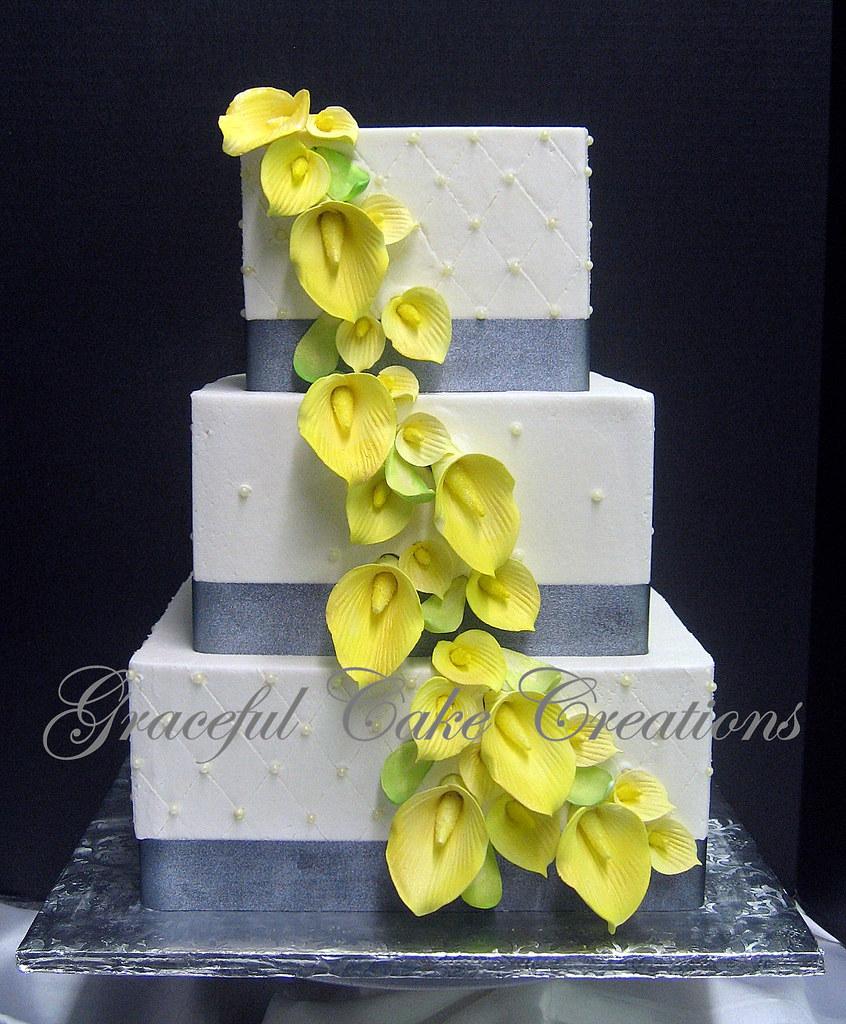 Elegant Square Ivory Butter Cream Wedding Cake with Metali…   Flickr