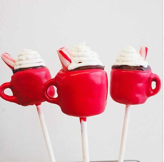 hot chocolate mug with peppermint stick cake pops copy | by Sweet Lauren Cakes