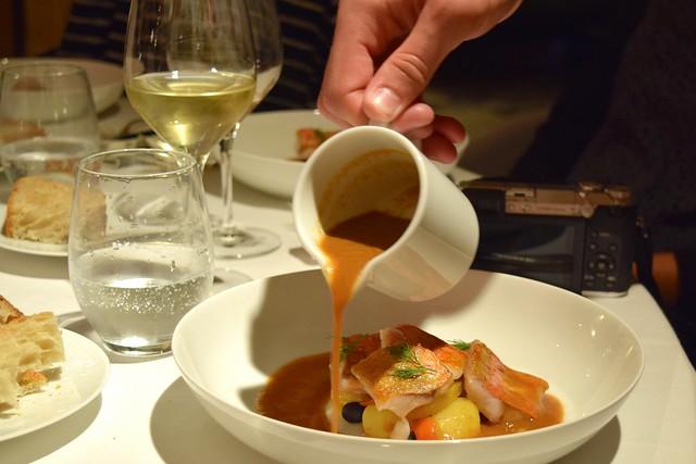 Red Snapper with a Fish Soup Reduction at Hostellerie de L'Imaginaire   www.rachelphipps.com @rachelphipps