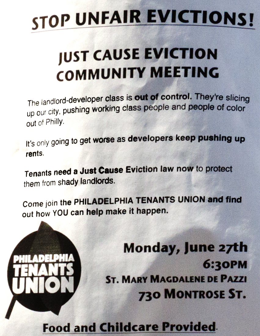 STOP UNFAIR EVICTIONS flier--Washington Avenue (detail)