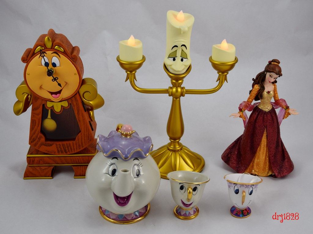 Mrs potts chip christmas decoration -  Beauty And The Beast Figurines Cogsworth Lumiere Christmas Belle Mrs Potts