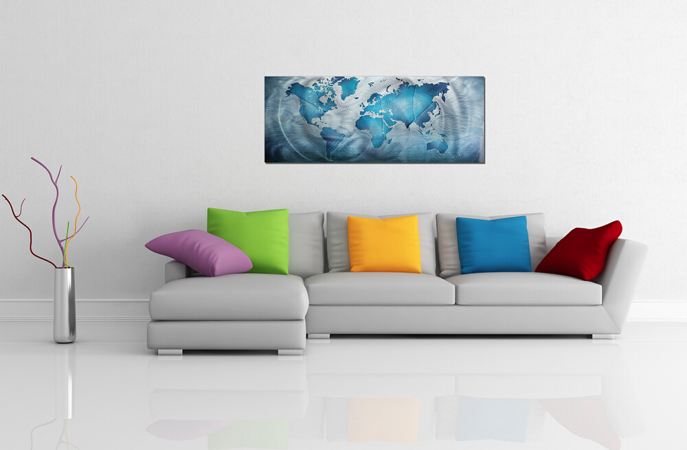 This is a strikingly silver and rich blue modern art repre flickr this is a strikingly silver and rich blue modern art representation of a world map gumiabroncs Gallery