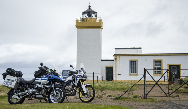 R1150GS and Africa Twin at Duncansby Head Lighthouse.
